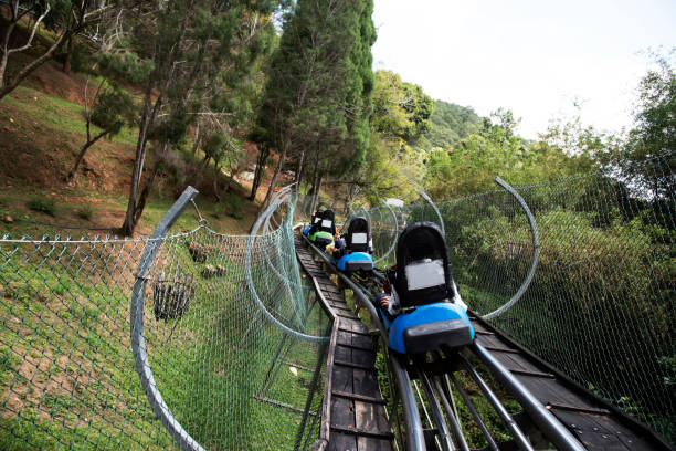 Rail downhill on a trolley to the Datanla waterfall in Vietnam stock photo