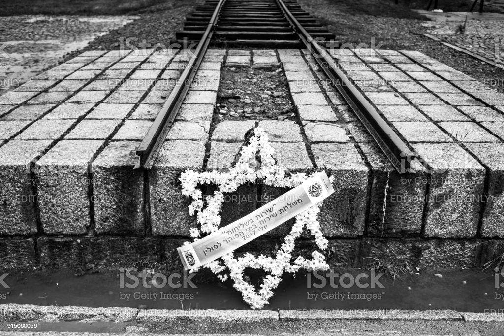 Rail Entrance To Concentration Camp At Auschwitz Birkenau Stock ...
