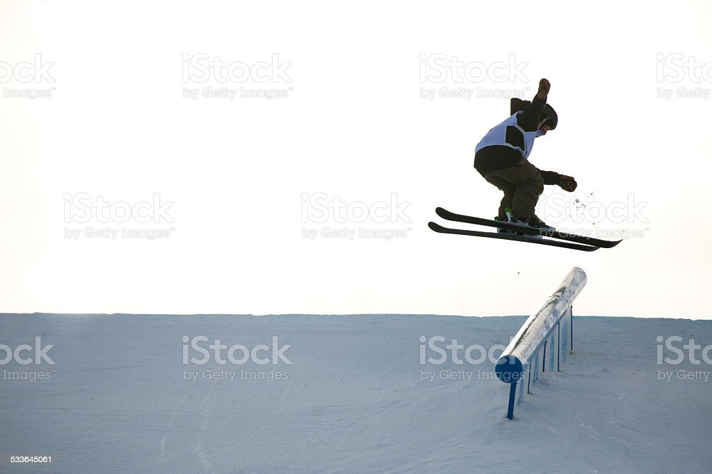 Rail Grind Skier stock photo