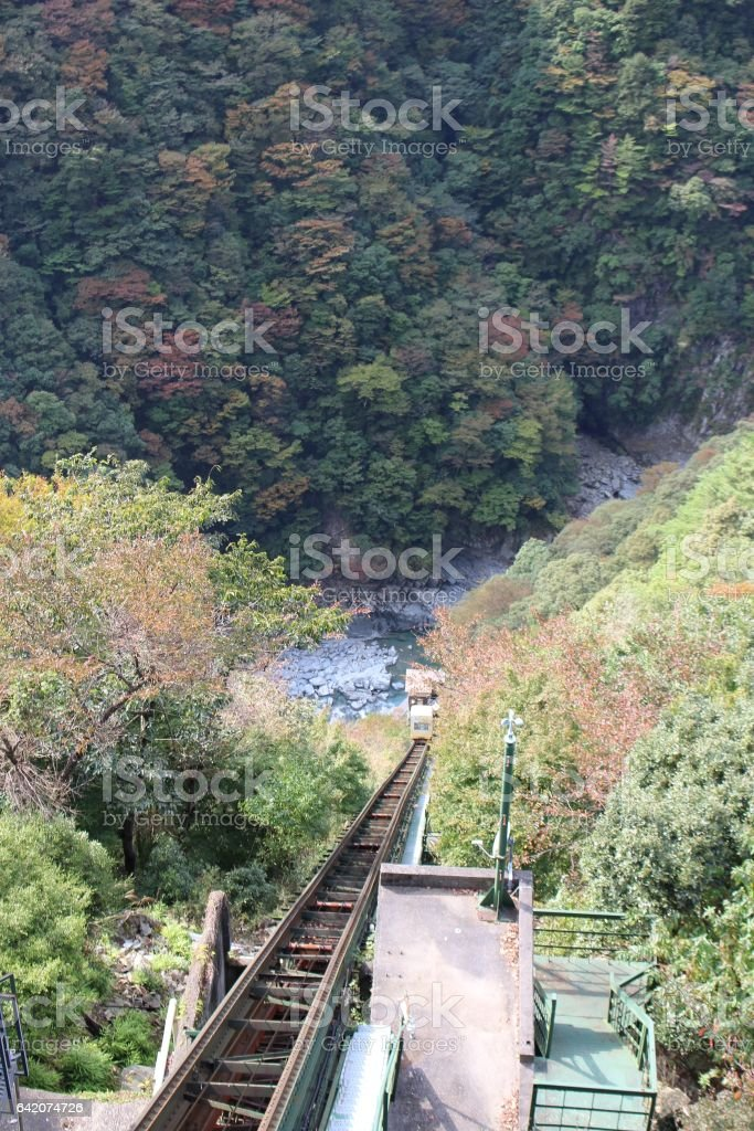 rail of cable car going down to deep vally stock photo