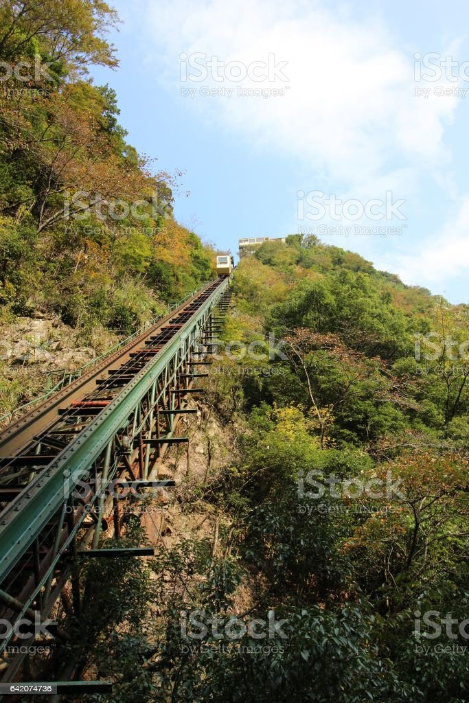 rail of cable car going up the valley stock photo