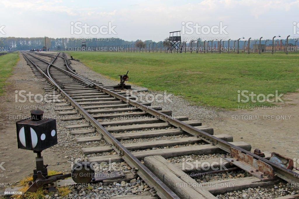 Rail Of Railroad At Concentration Camp At Auschwitz Birkenau Kz