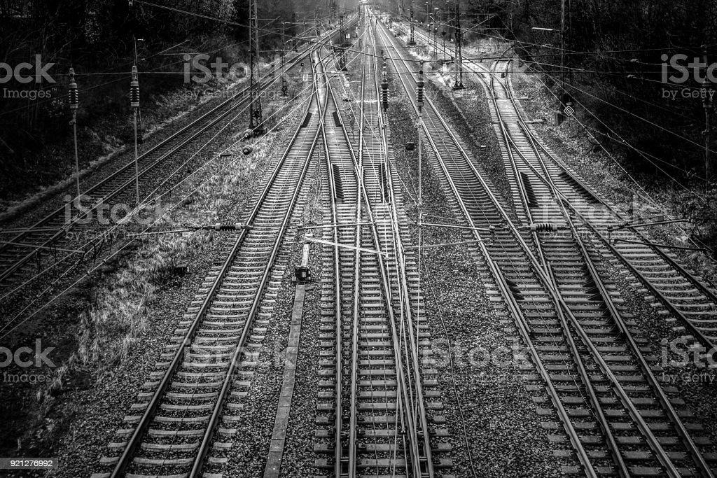 Rail, Railyard black and white stock photo