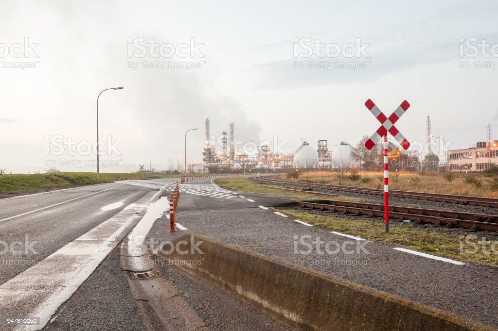rail road crossing stock photo