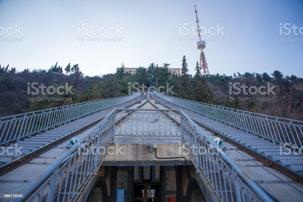rail road for the cable car stock photo