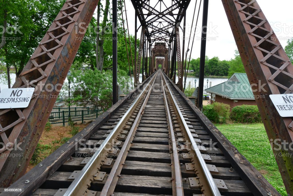 Rail road girder bridge in Augusta Georgia stock photo