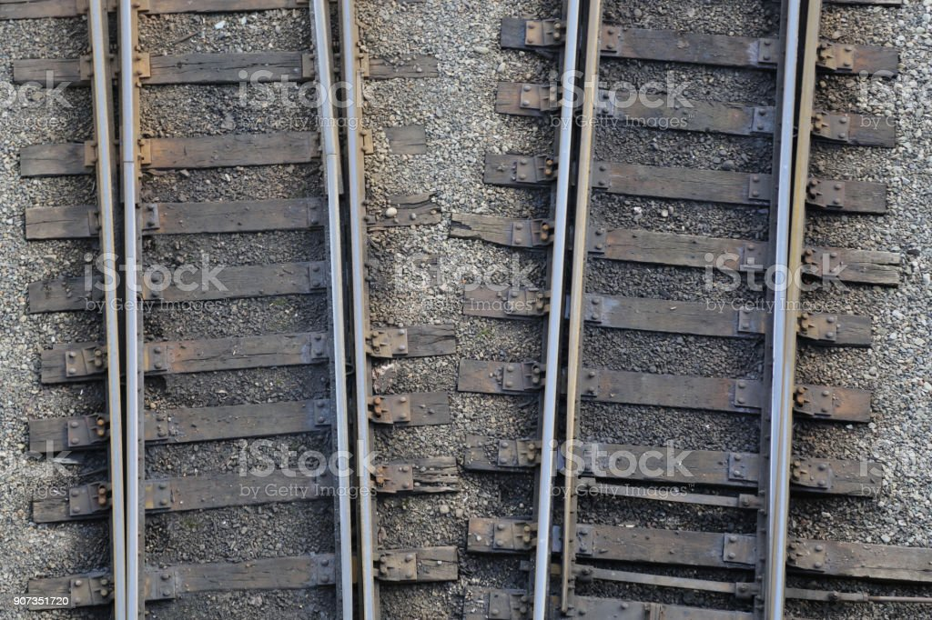Rail road high angle view rals pebbles stock photo