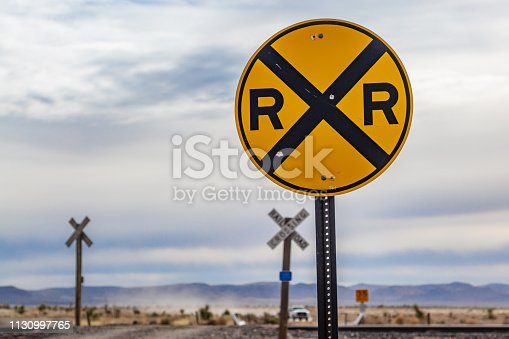 A railroad crossing in rural New Mexico