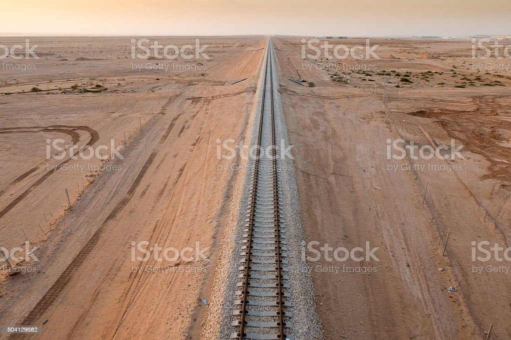 Rail road track in the desert stock photo