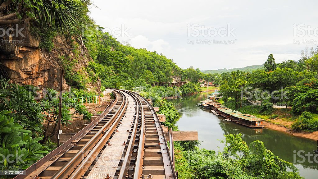 Rail Track along the cliff in Thailand stock photo