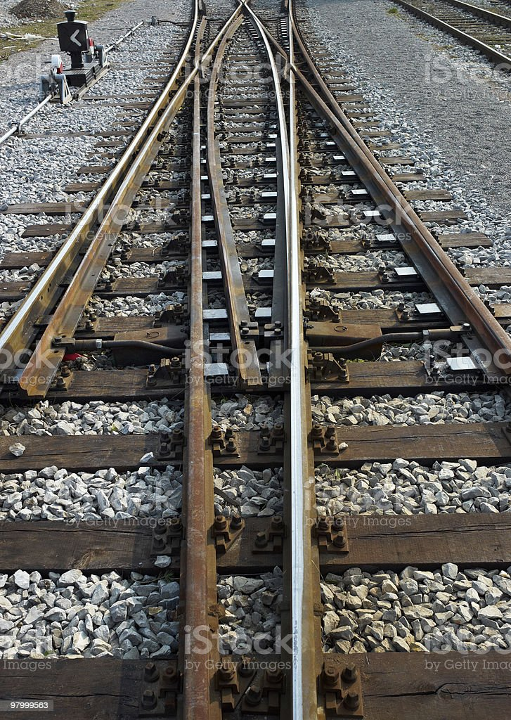 Rail track cross roads royalty-free stock photo