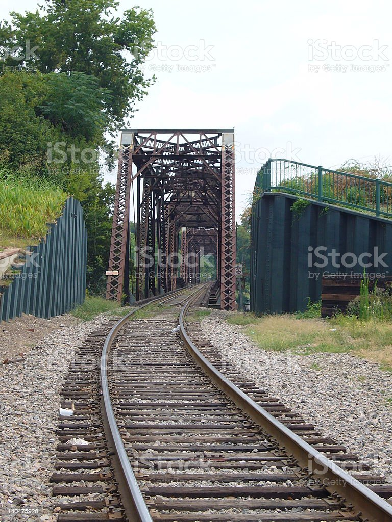 Rail track in Augusta, Georgia stock photo