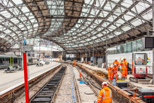 rail track maintenance - rail stock photos and pictures