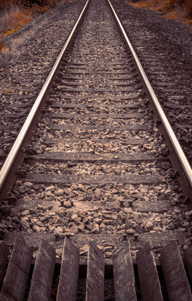 Rail tracks disappear to distance stock photo
