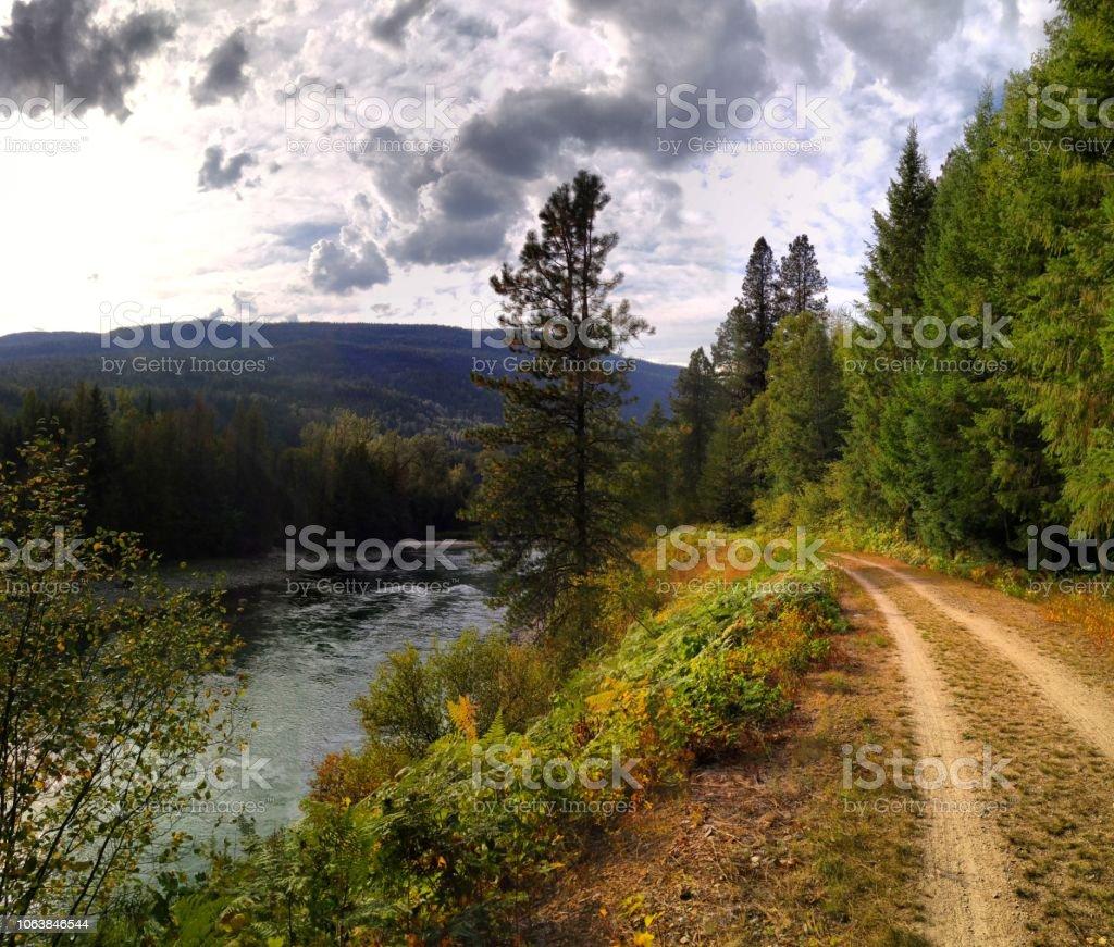 A rail trail in rural British Columbia stock photo