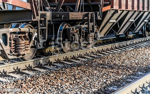 istock Rail transportation. Old freight car and railway track 1149912562