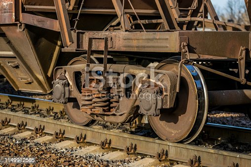 istock Rail transportation. Old freight car and railway track 1149912565