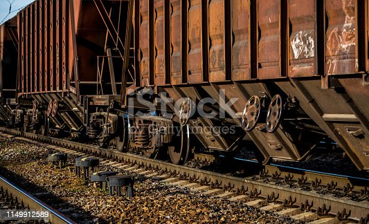 istock Rail transportation. Old freight car and railway track 1149912589