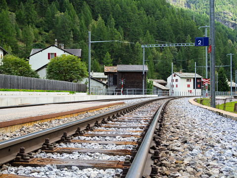 Rail way close up in Switzerland