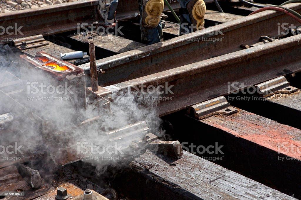Rail Weld stock photo