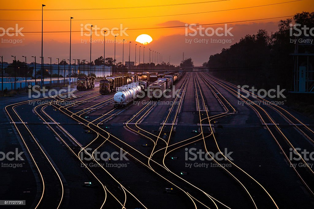 Rail Yard At Sunset stock photo