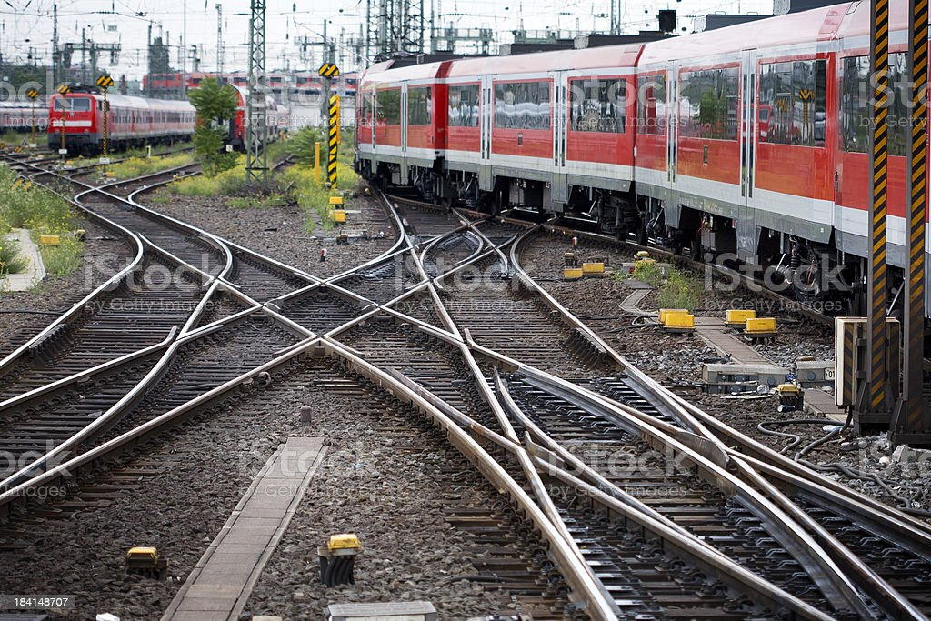 Rail Yard Tracks And Trains Stock Photo - Download Image Now