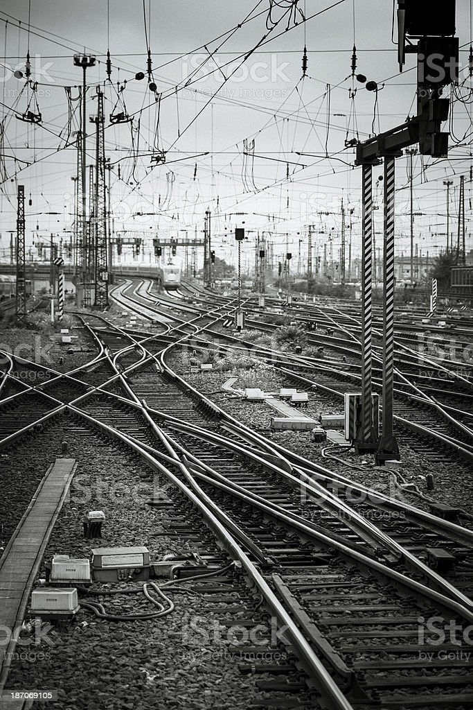 Rail yard, tracks and trains royalty-free stock photo