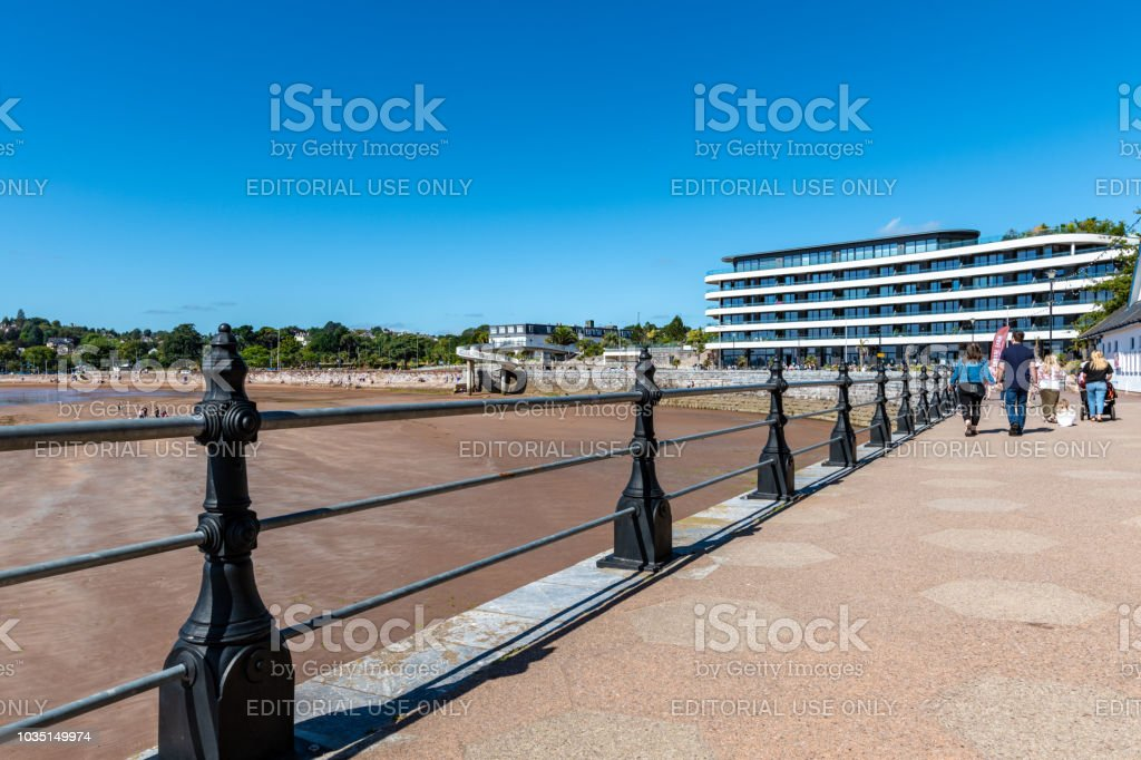 Railing by the beach in Torquay, Devon stock photo