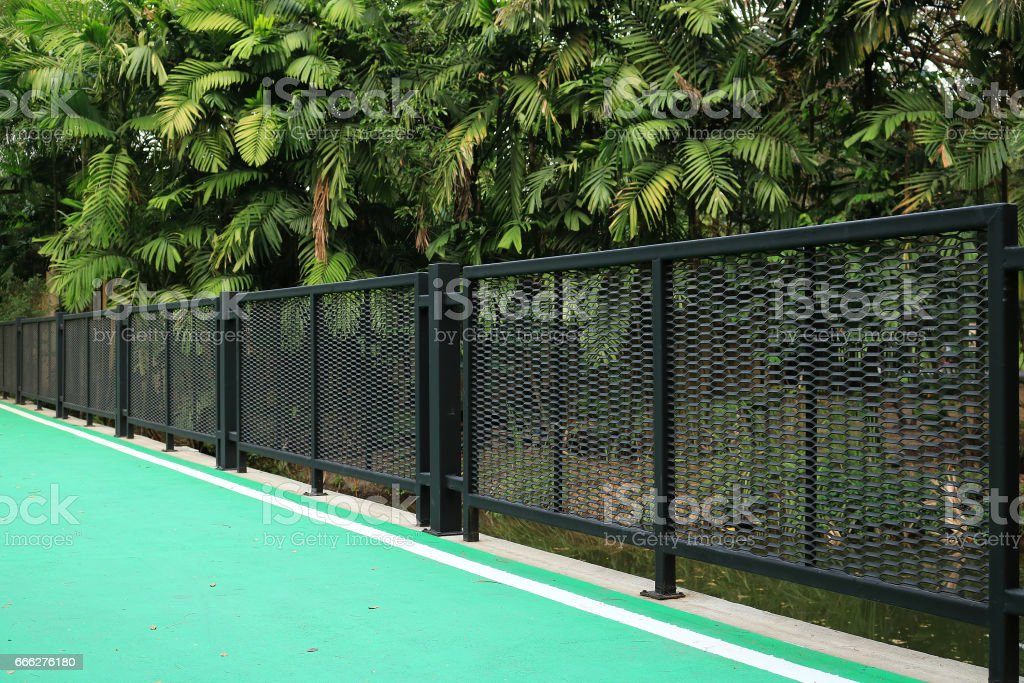 Railing in the garden stock photo