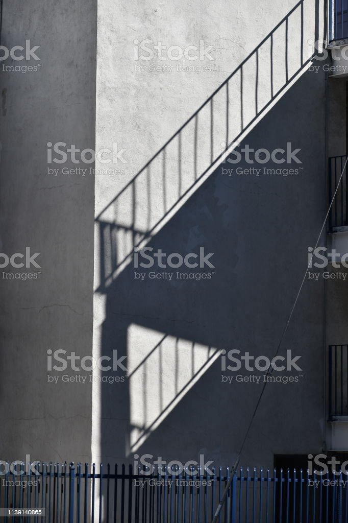Railing Shadow with Fence stock photo