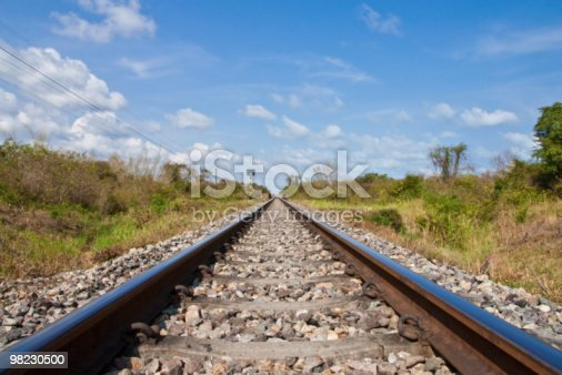 Railroad And Blue Sky Stock Photo & More Pictures of Blue