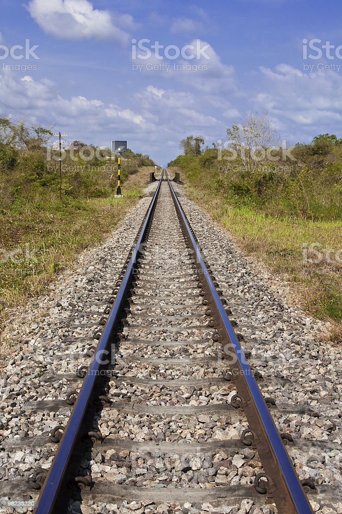 Railroad and blue sky royalty-free stock photo