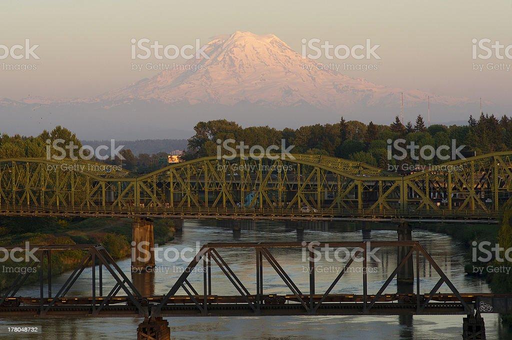 Railroad and Car Bridges over Puyallup River Mt. Rainier Washington stock photo