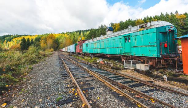 Railroad and colorful train in autumn season,mt Rainier National park area,Elbe,Washington,USA. stock photo