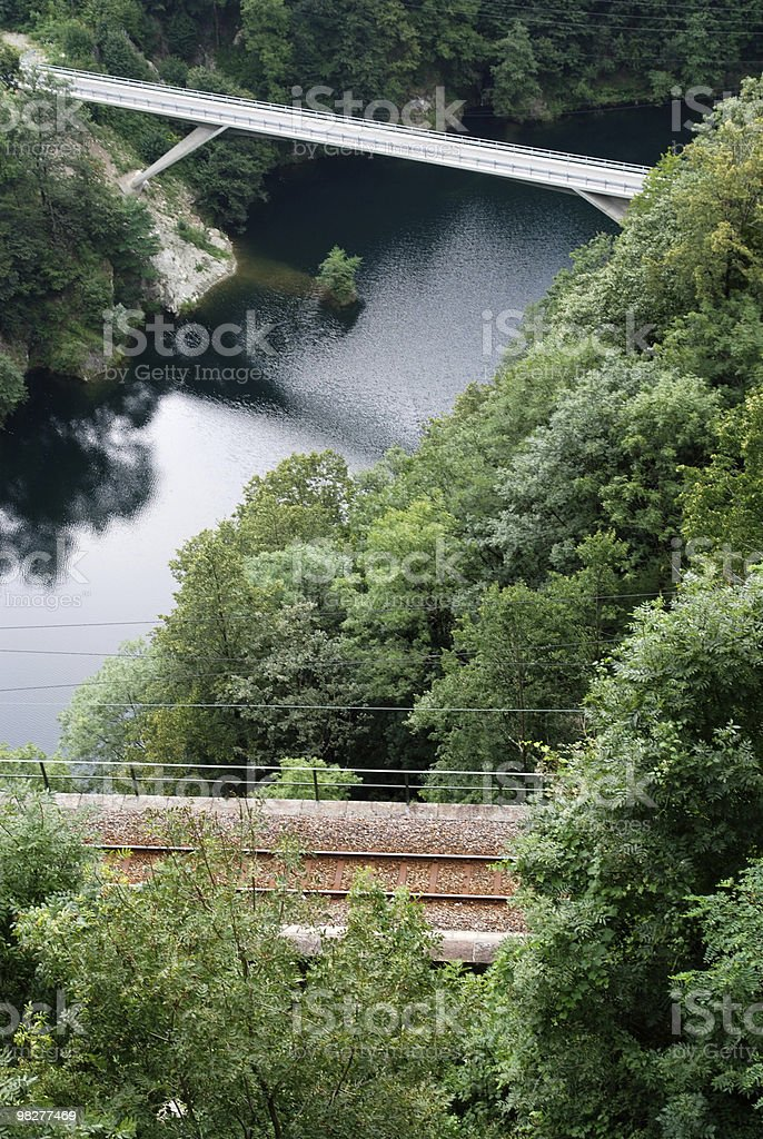 railroad and road crossing river in the swiss mountains royalty-free stock photo