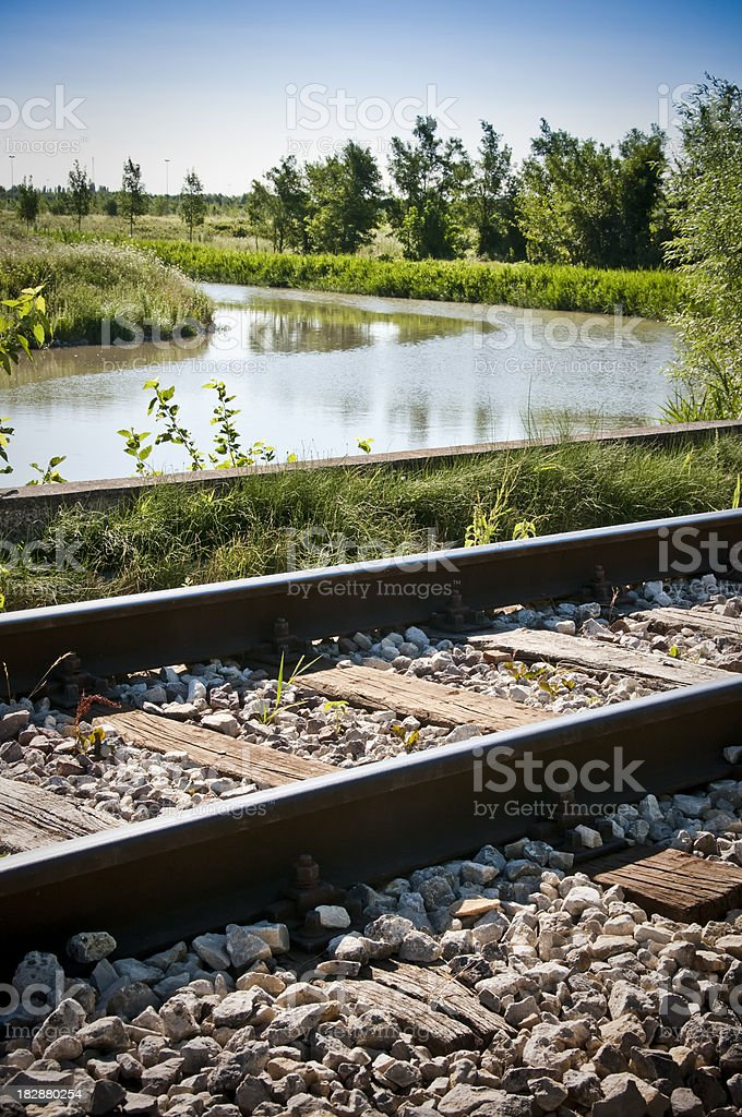 railroad and the river royalty-free stock photo