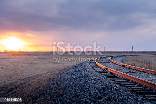 Railroad at sunset, south of SK, Canada.