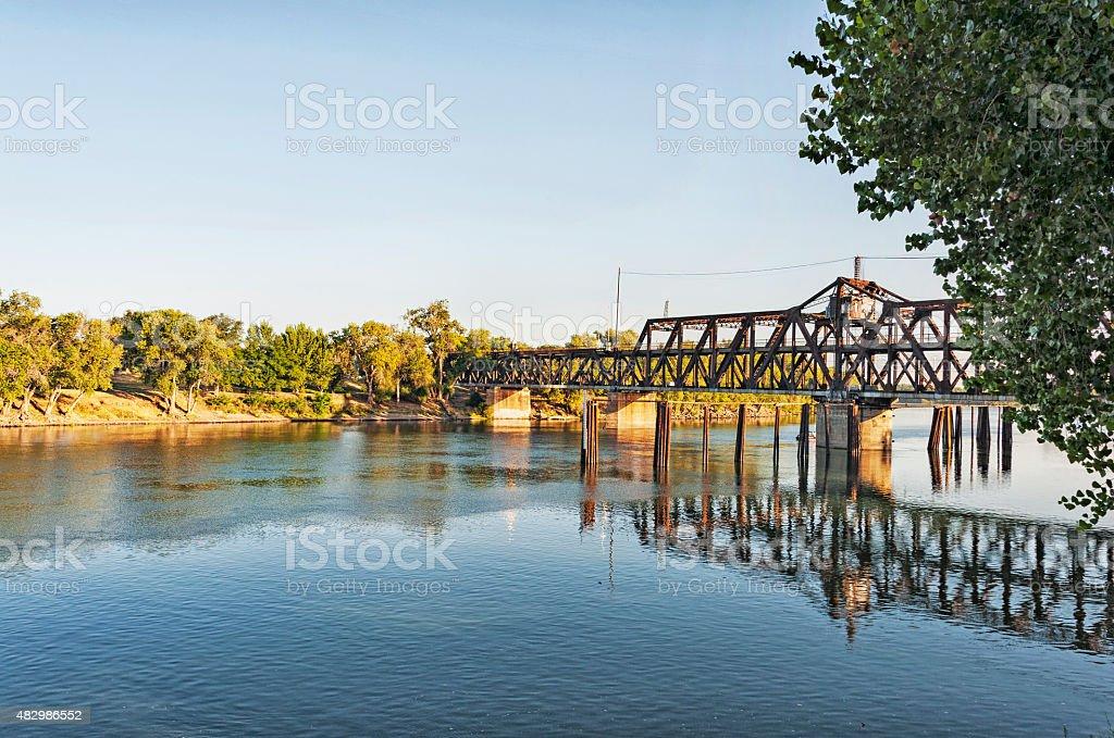 Railroad Bridge Morning View in Sacramento stock photo