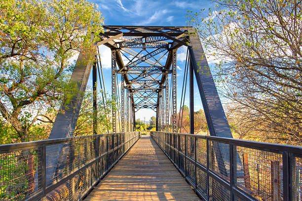 Railroad Bridge Over Iron Horse Trailhead stock photo