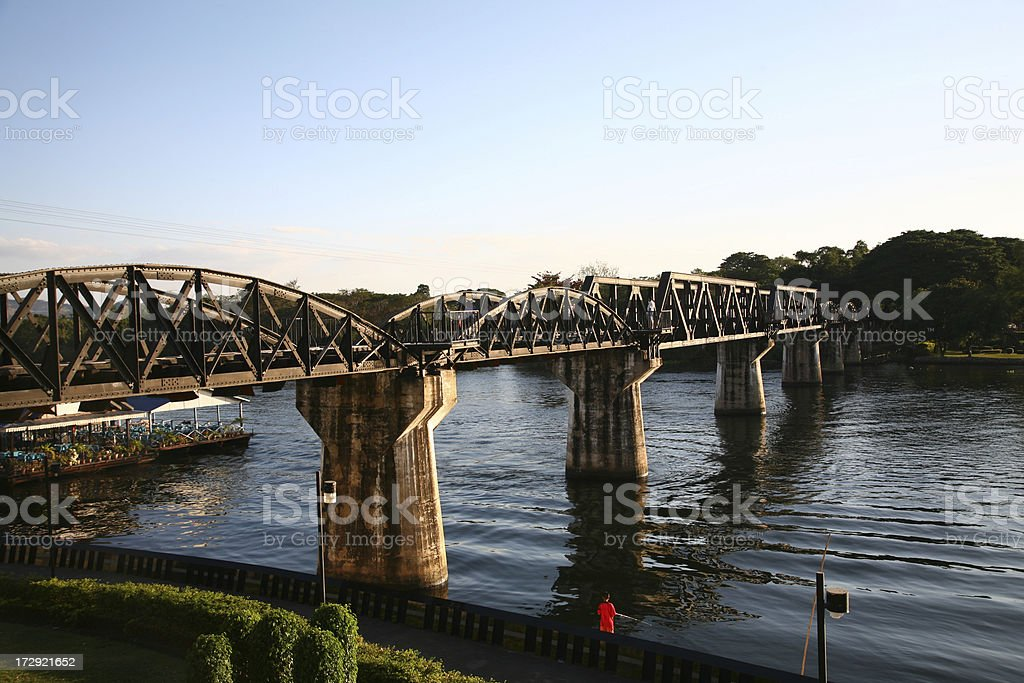 Railroad bridge over river Kwai stock photo