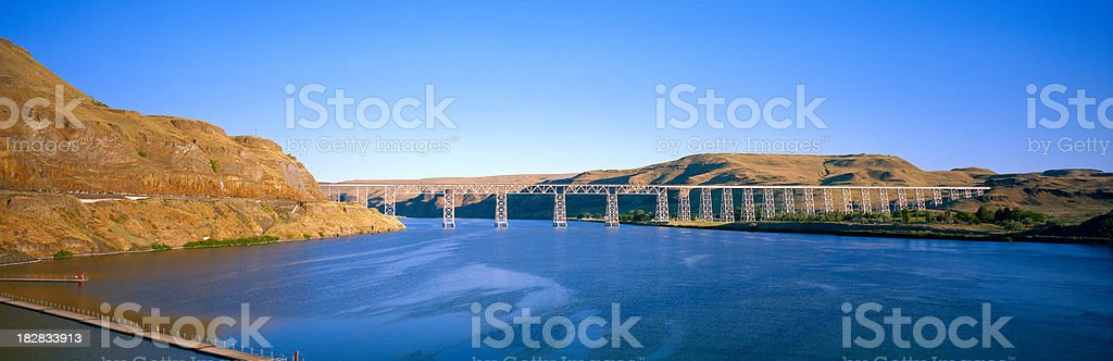 Railroad Bridge over Snake River, Eastern Washington royalty-free stock photo