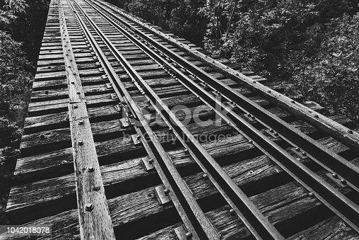 Abandoned railroad bridge spanning a deep valley.
