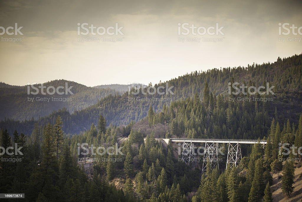 Railroad Bridge Thorugh Northern California Forest royalty-free stock photo