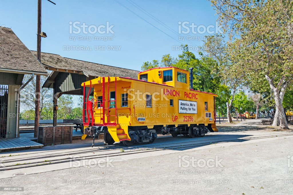 Railroad Car on display Old Town Sacrameto State Park stock photo