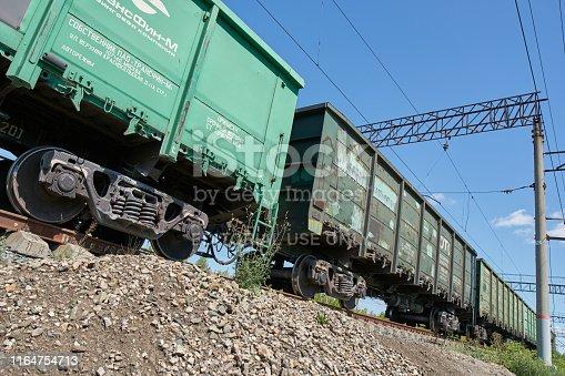 Saransk, Russia - July 28, 2019: Railroad car in yard.