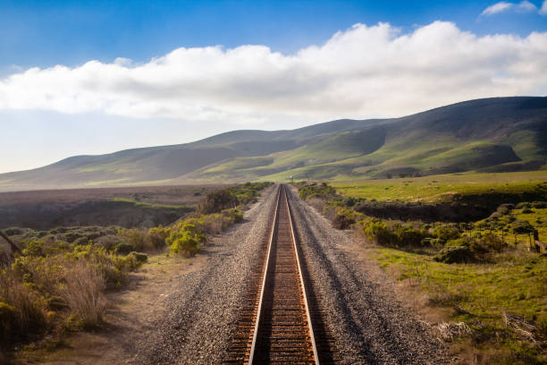 california railroad, central coast - schienen stock-fotos und bilder