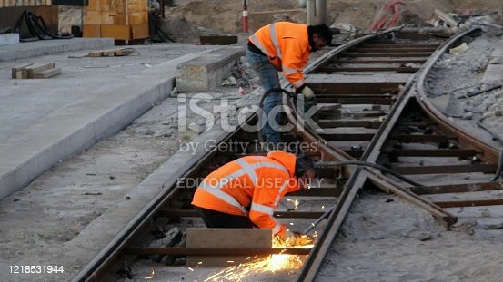 Scene Of Railroad Construction Worker Welding A Railway Beam During The Day In Amsterdam North Holland The Netherlands Europe