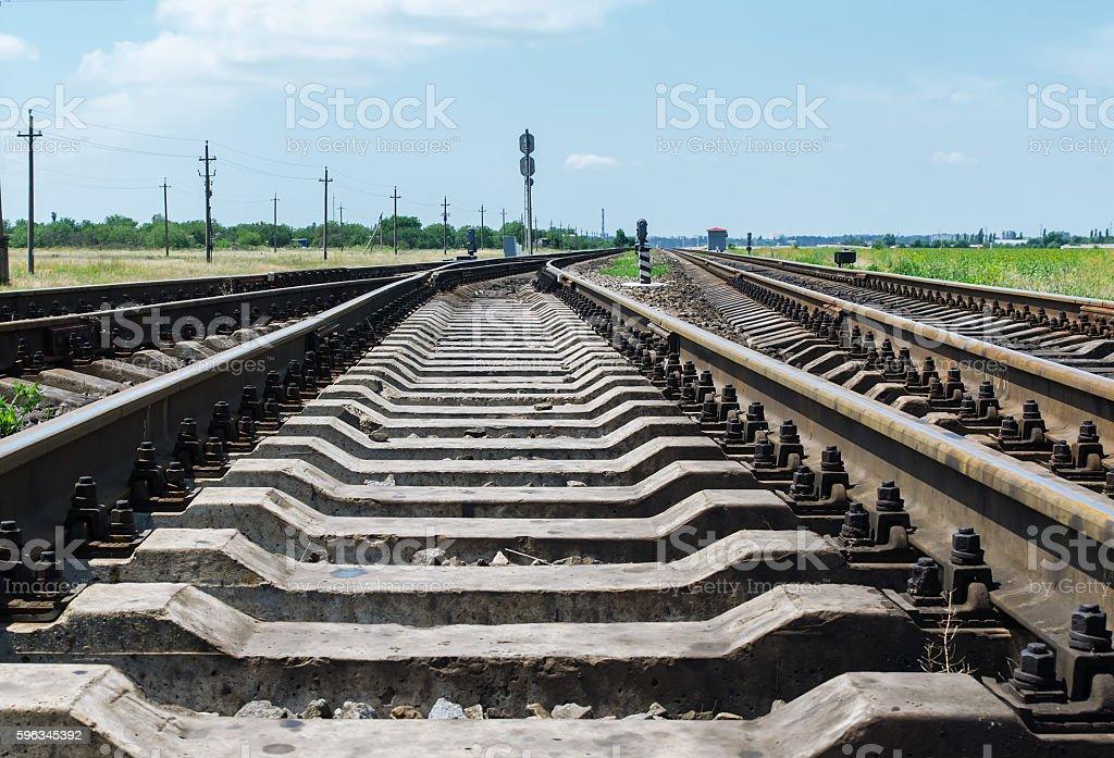 railroad crossing close up goes to horizon Lizenzfreies stock-foto