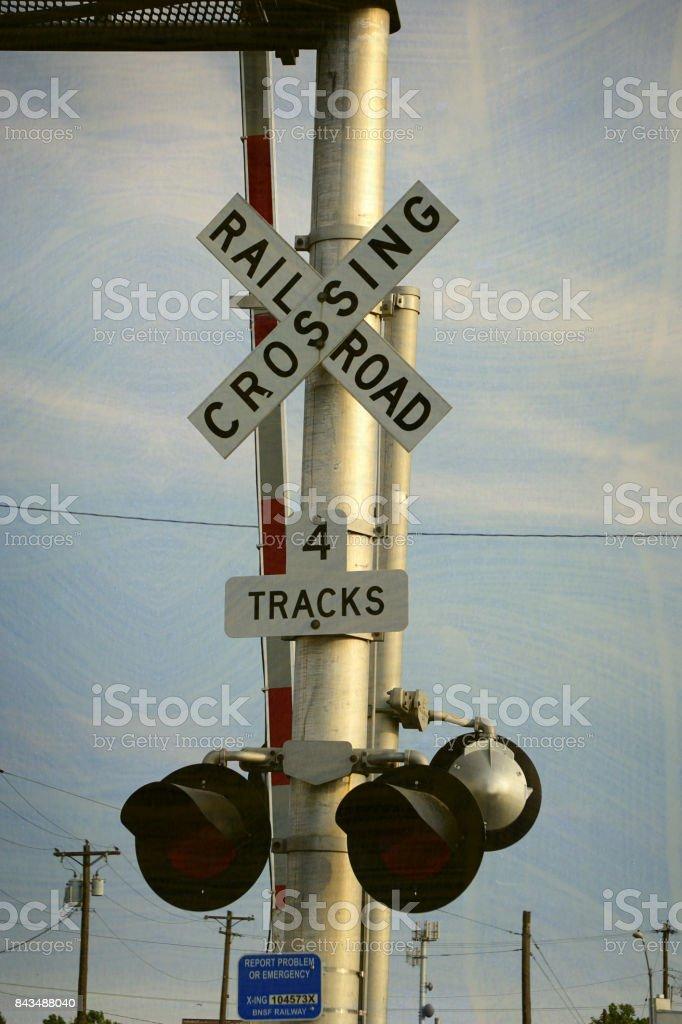 railroad crossing gate stock photo