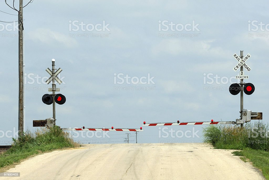 Railroad Crossing on the Hill royalty-free stock photo